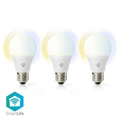 Nedis   3 Lâmpadas LED SmartLife   Wi-Fi   E27   800 lm   9 W   Branco Quente / Branco Frio   2700 - 6500 K   A+   Android ™ e iOS   Diâmetro: 60 mm   A60