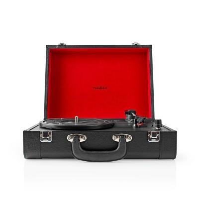 Nedis | Gira-Discos Portátil | 33/45/78 rpm | Correia de condução | 1x Stereo RCA | Bluetooth | 18 W | (Pré) amplificador embutido | MDF / Couro de imitação | Vermelho preto