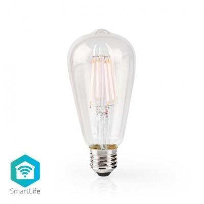 Nedis   Lâmpada de filamento LED SmartLife   Wi-Fi   E27   500 lm   5 W   Branco Quente   2700 K   Crystal   Android ™ e iOS   Diâmetro: 64 mm   ST64