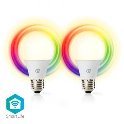 Nedis   2 Lâmpadas Smartlife em cores   Wi-Fi   E27   470 lm   6 W   Branco Quente / RGB   2700 K   Android ™ e iOS   Diâmetro: 60 mm   A60