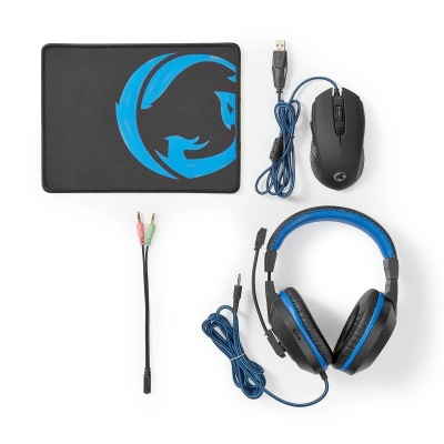 Nedis | 3 em 1 | Fones de ouvido, mouse e mouse pad | Azul preto