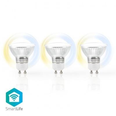 Nedis   3 Lâmpadas LED SmartLife   Wi-Fi   GU10   400 lm   5 W   Branco Quente / Branco Frio   2700 - 6500 K   A+   Android ™ e iOS   Diâmetro: 50 mm   PAR16