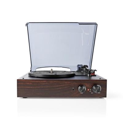 Nedis | Gira-Discos | 33/45/78 rpm | Correia de transmissão | 1x Stereo RCA | 18 W | (Pré) amplificador embutido | Conversão de MP3 | ABS / MDF | Castanho