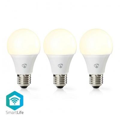 Nedis   3 Lâmpadas LED SmartLife   Wi-Fi   E27   800 lm   9 W   Branco Quente   2700 K   A+   Android ™ e iOS   Diâmetro: 60 mm   A60