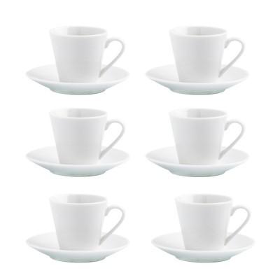 CJ DE 6 CHÁVENAS E PRATOS BRANCOS DE CAFÉ
