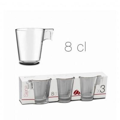 CJ 3 CHÁVENAS VIDRO CAFÉ EXPRESSO